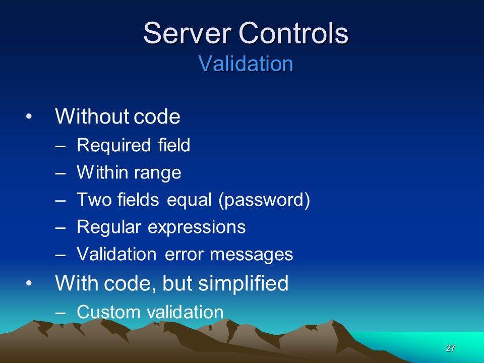 Server Controls Validation