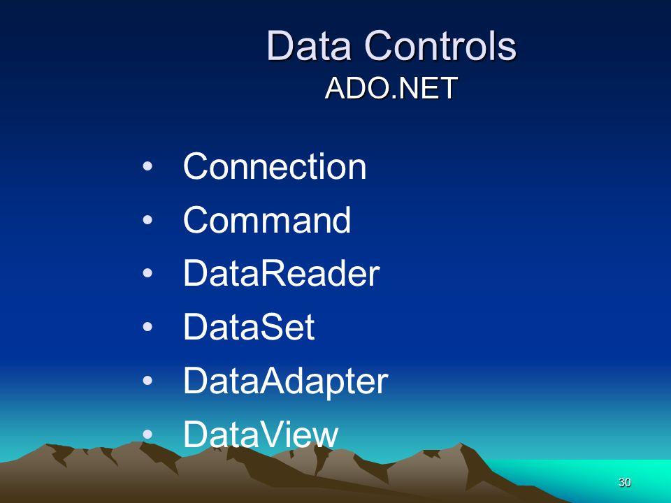 Data Controls ADO.NET Connection Command DataReader DataSet