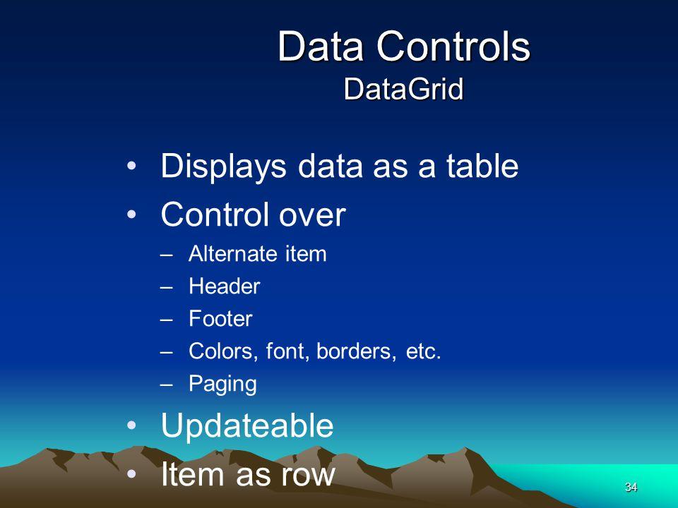 Data Controls DataGrid