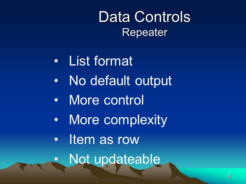 Data Controls Repeater