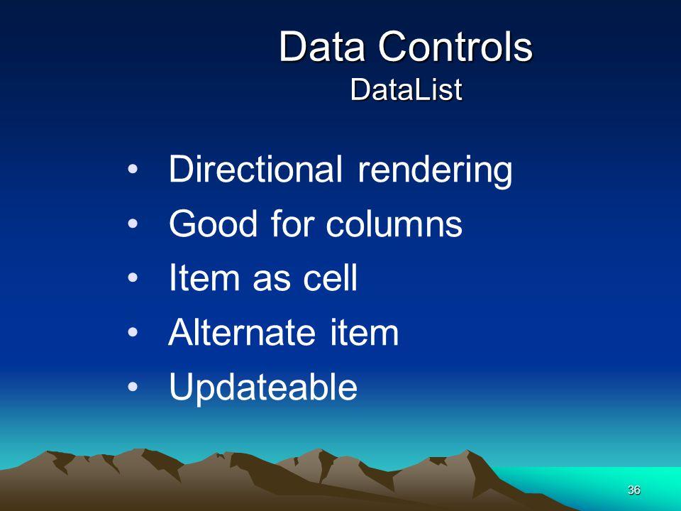 Data Controls DataList
