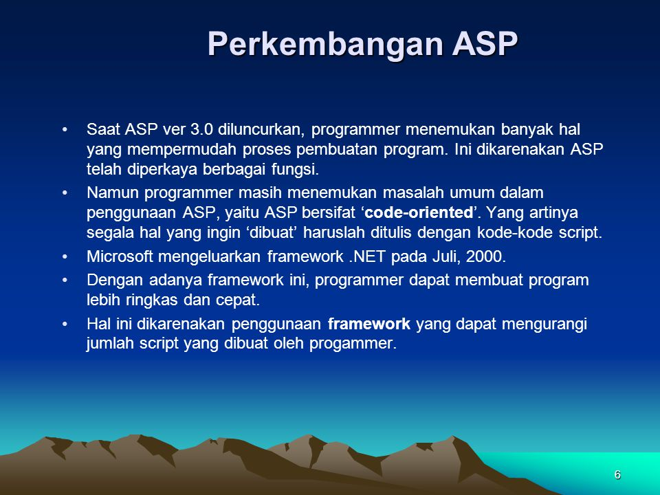 Perkembangan ASP