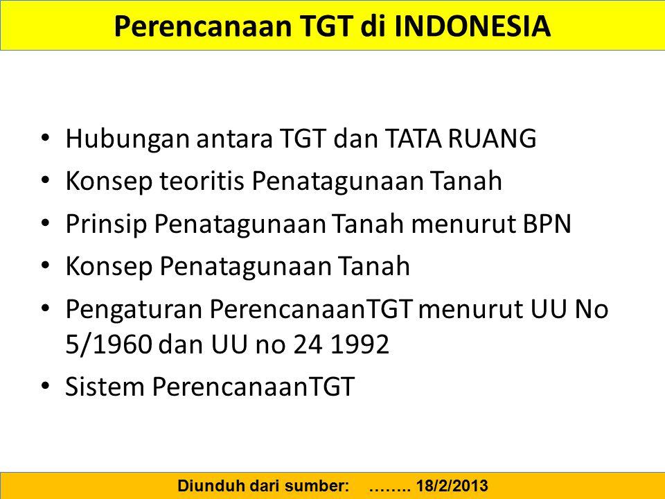Perencanaan TGT di INDONESIA
