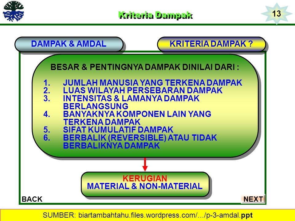 BESAR & PENTINGNYA DAMPAK DINILAI DARI : MATERIAL & NON-MATERIAL