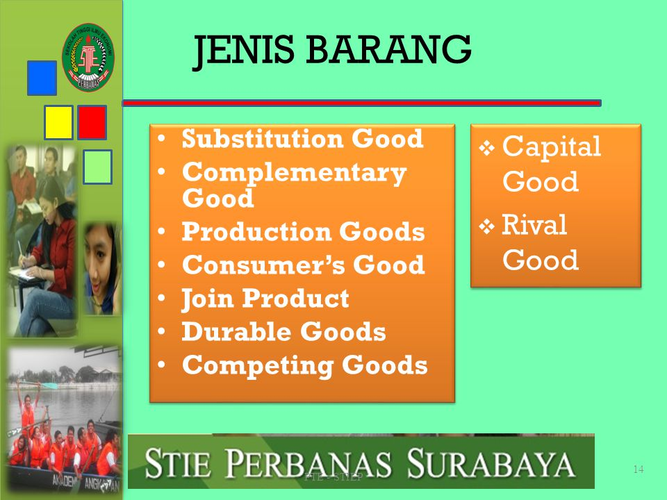 JENIS BARANG Capital Good Rival Good Substitution Good