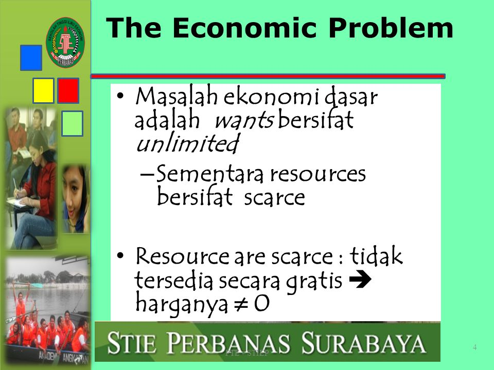 STIE PERBANAS SUABAYA The Economic Problem. Masalah ekonomi dasar adalah wants bersifat unlimited.