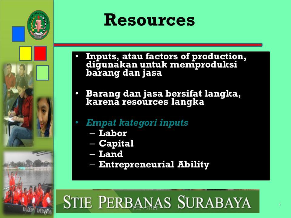 STIE PERBANAS SUABAYA Resources. Inputs, atau factors of production, digunakan untuk memproduksi barang dan jasa.