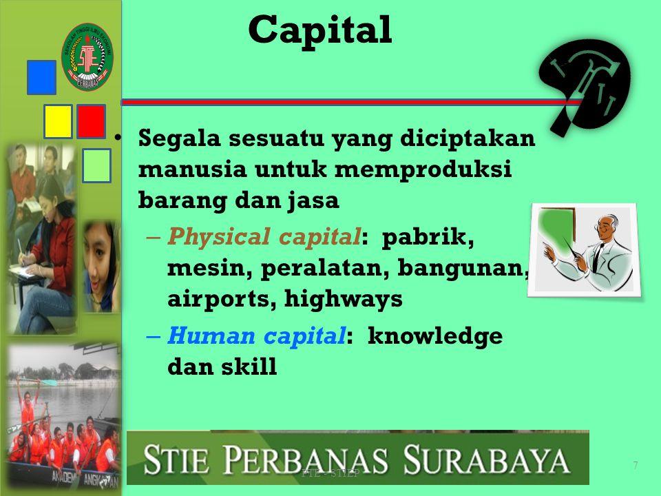 STIE PERBANAS SUABAYA Capital. Segala sesuatu yang diciptakan manusia untuk memproduksi barang dan jasa.