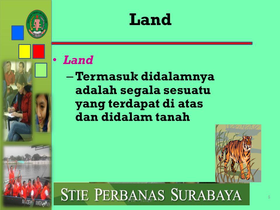 STIE PERBANAS SUABAYA Land. Land. Termasuk didalamnya adalah segala sesuatu yang terdapat di atas dan didalam tanah.