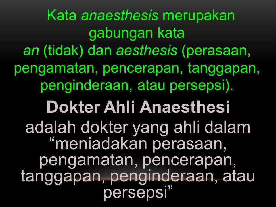Dokter Ahli Anaesthesi