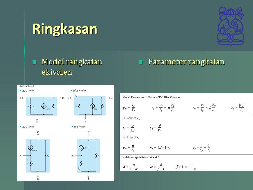 Ringkasan Model rangkaian ekivalen Parameter rangkaian