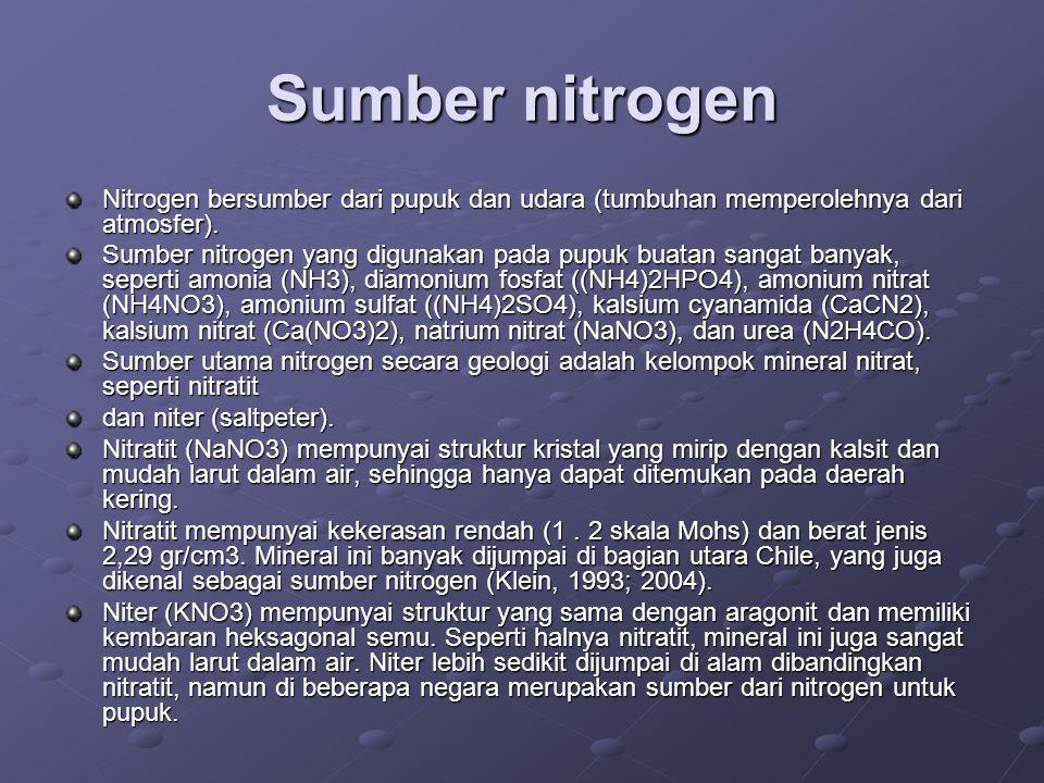 Sumber nitrogen Nitrogen bersumber dari pupuk dan udara (tumbuhan memperolehnya dari atmosfer).