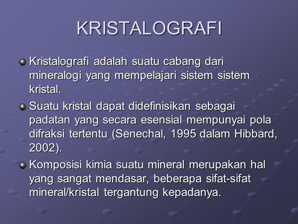 KRISTALOGRAFI Kristalografi adalah suatu cabang dari mineralogi yang mempelajari sistem sistem kristal.