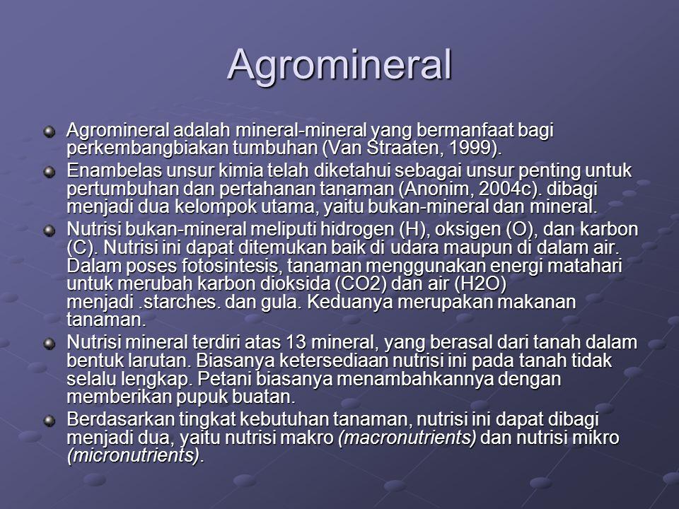 Agromineral Agromineral adalah mineral-mineral yang bermanfaat bagi perkembangbiakan tumbuhan (Van Straaten, 1999).