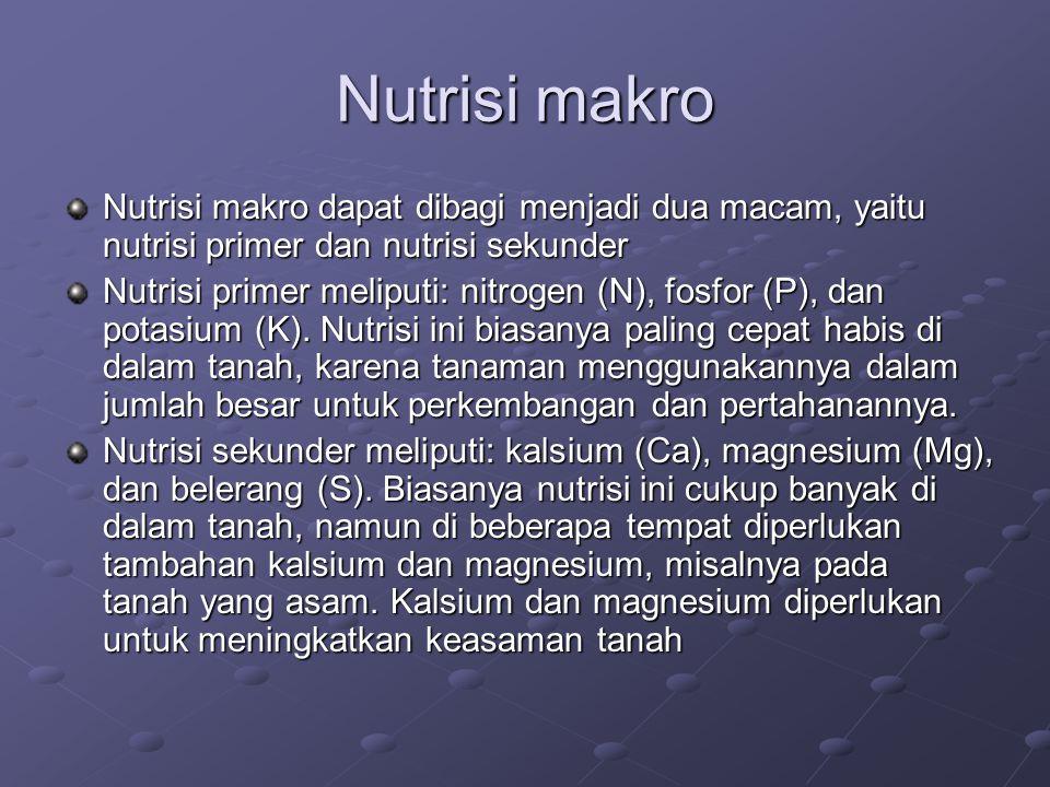 Nutrisi makro Nutrisi makro dapat dibagi menjadi dua macam, yaitu nutrisi primer dan nutrisi sekunder.