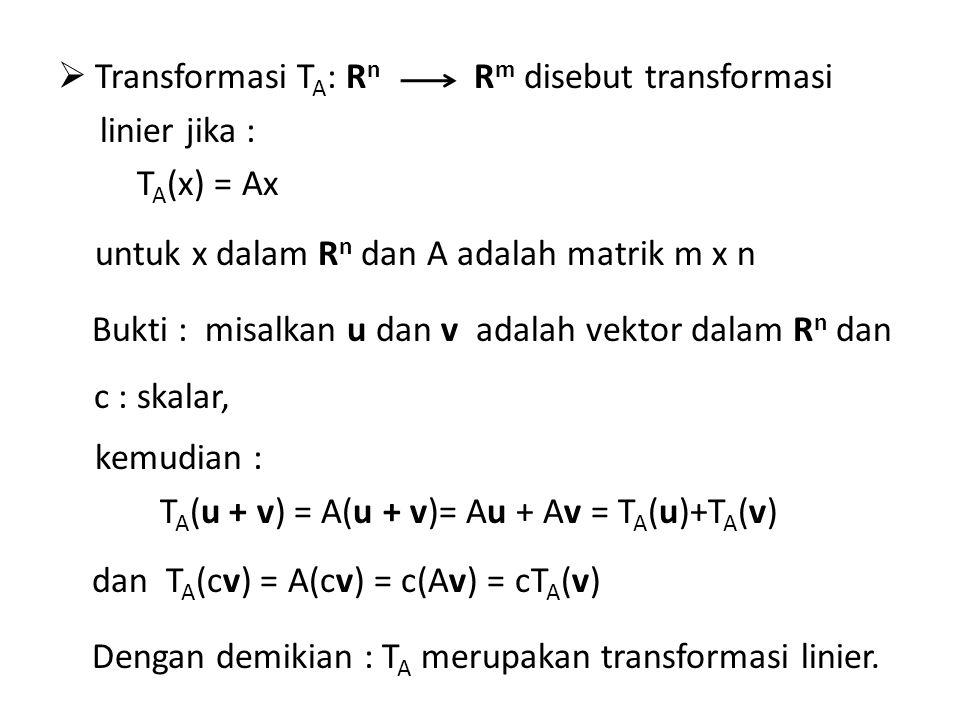 Transformasi TA: Rn linier jika : TA(x) = Ax. untuk x dalam Rn dan A adalah matrik m x n.