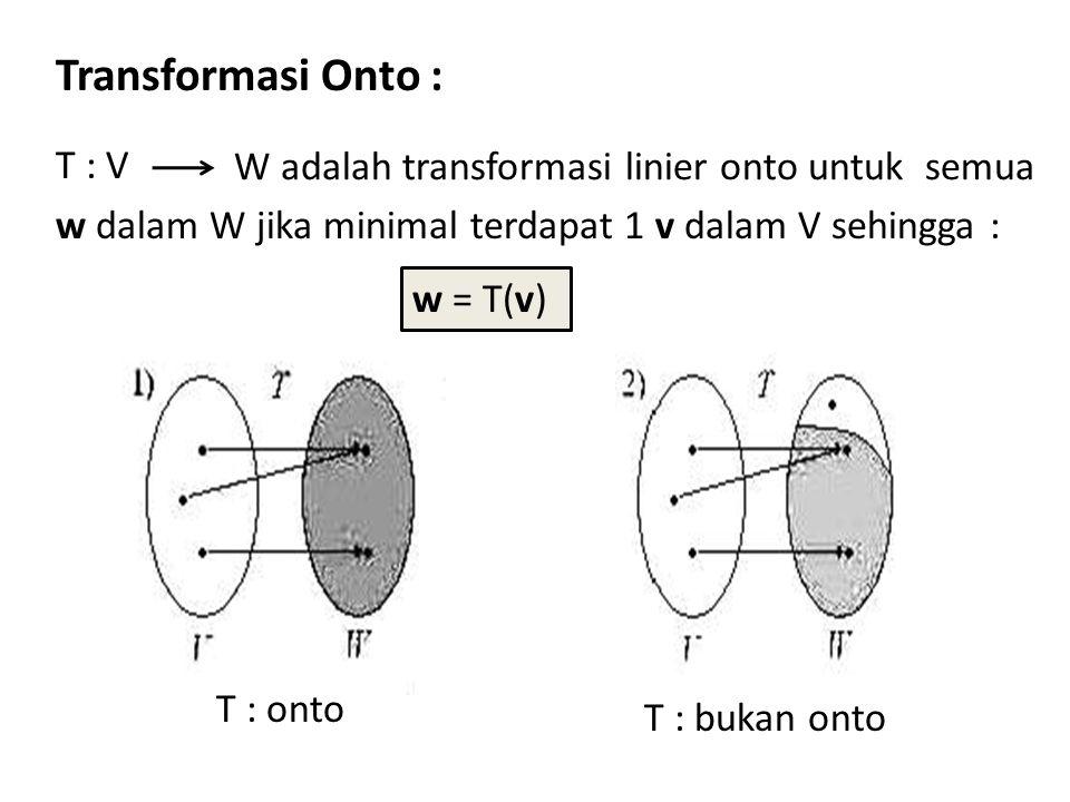 Transformasi Onto : T : V w dalam W jika minimal terdapat 1 v dalam V sehingga : W adalah transformasi linier onto untuk semua.