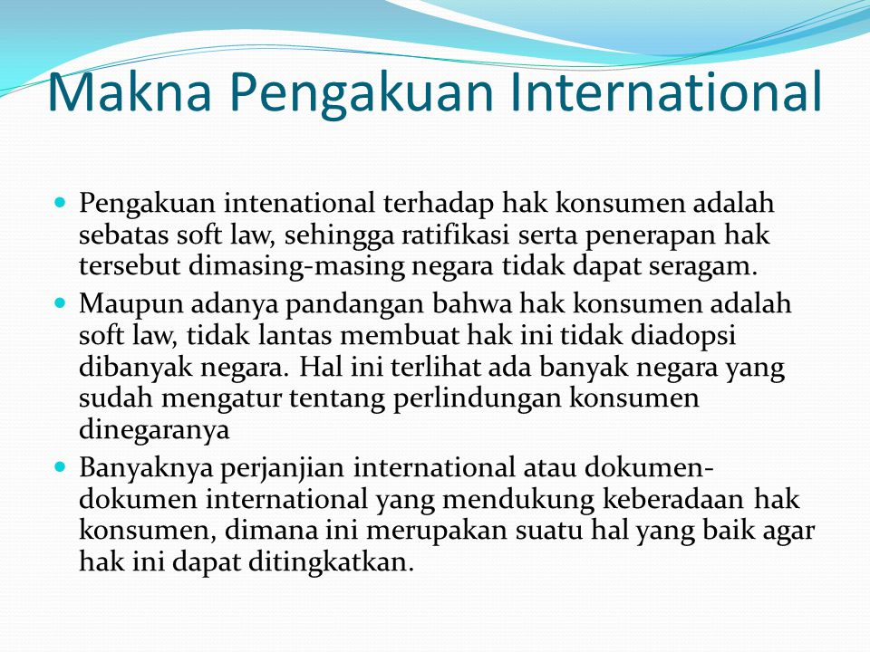 Makna Pengakuan International