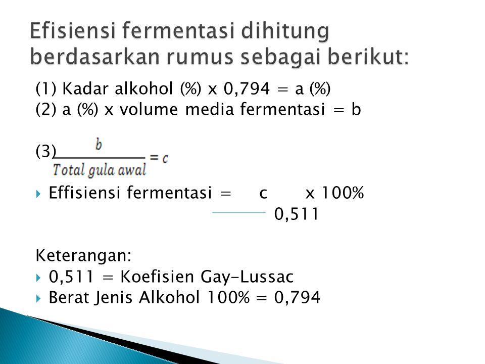 Efisiensi fermentasi dihitung berdasarkan rumus sebagai berikut: