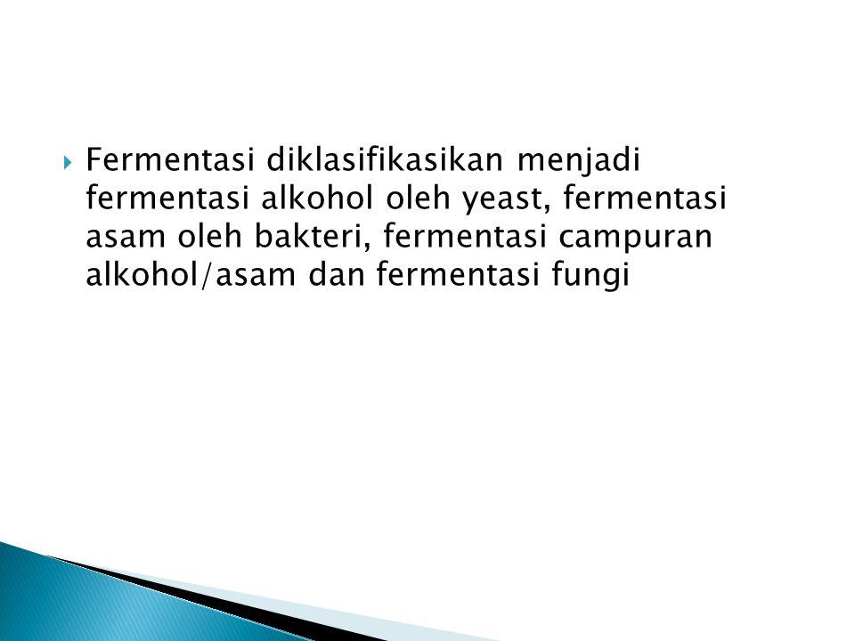Fermentasi diklasifikasikan menjadi fermentasi alkohol oleh yeast, fermentasi asam oleh bakteri, fermentasi campuran alkohol/asam dan fermentasi fungi