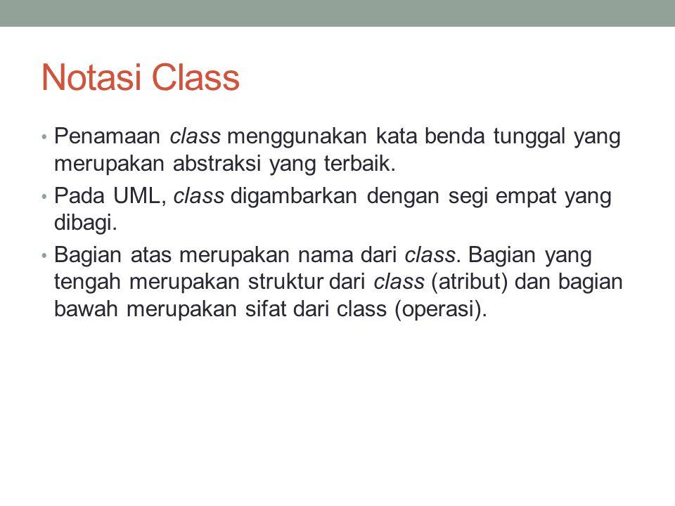Notasi Class Penamaan class menggunakan kata benda tunggal yang merupakan abstraksi yang terbaik.