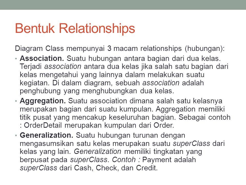 Bentuk Relationships Diagram Class mempunyai 3 macam relationships (hubungan):