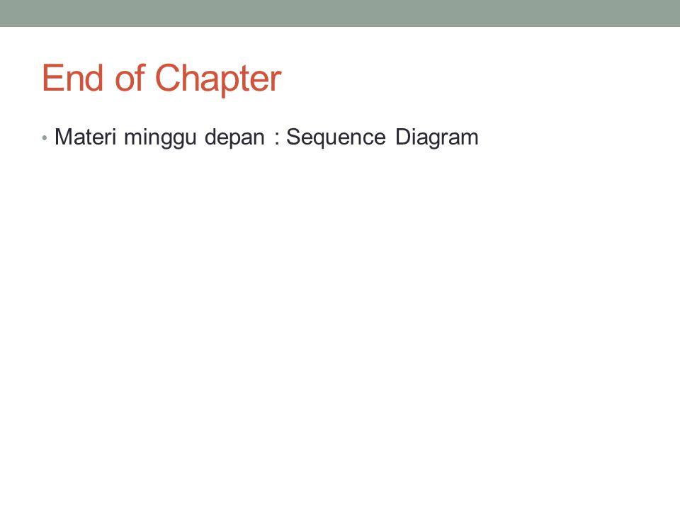 End of Chapter Materi minggu depan : Sequence Diagram