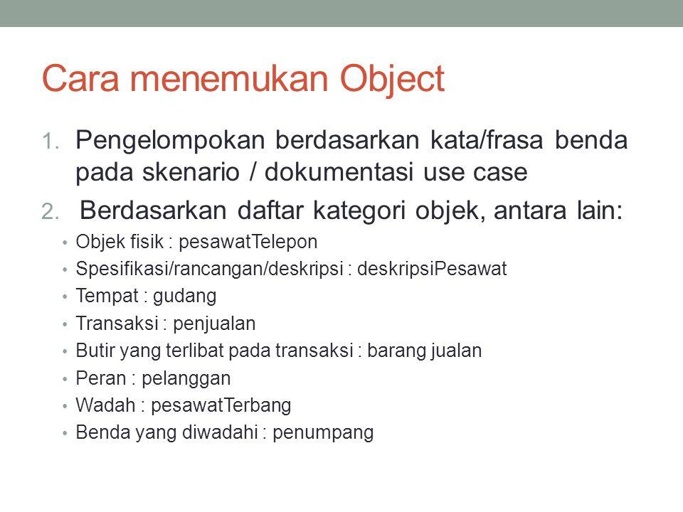 Cara menemukan Object Pengelompokan berdasarkan kata/frasa benda pada skenario / dokumentasi use case.