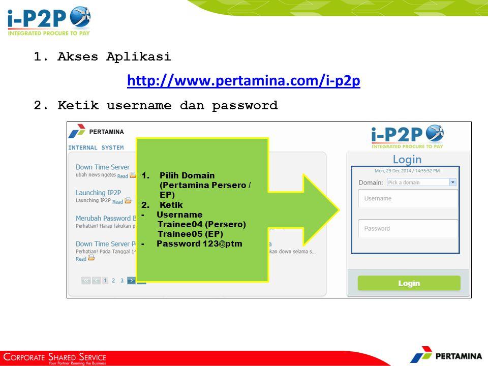 Berikut sub menu report pada domain pertamina persero
