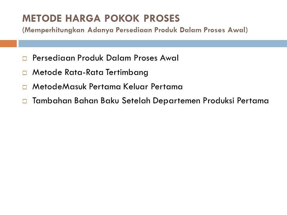 METODE HARGA POKOK PROSES (Memperhitungkan Adanya Persediaan Produk Dalam Proses Awal)