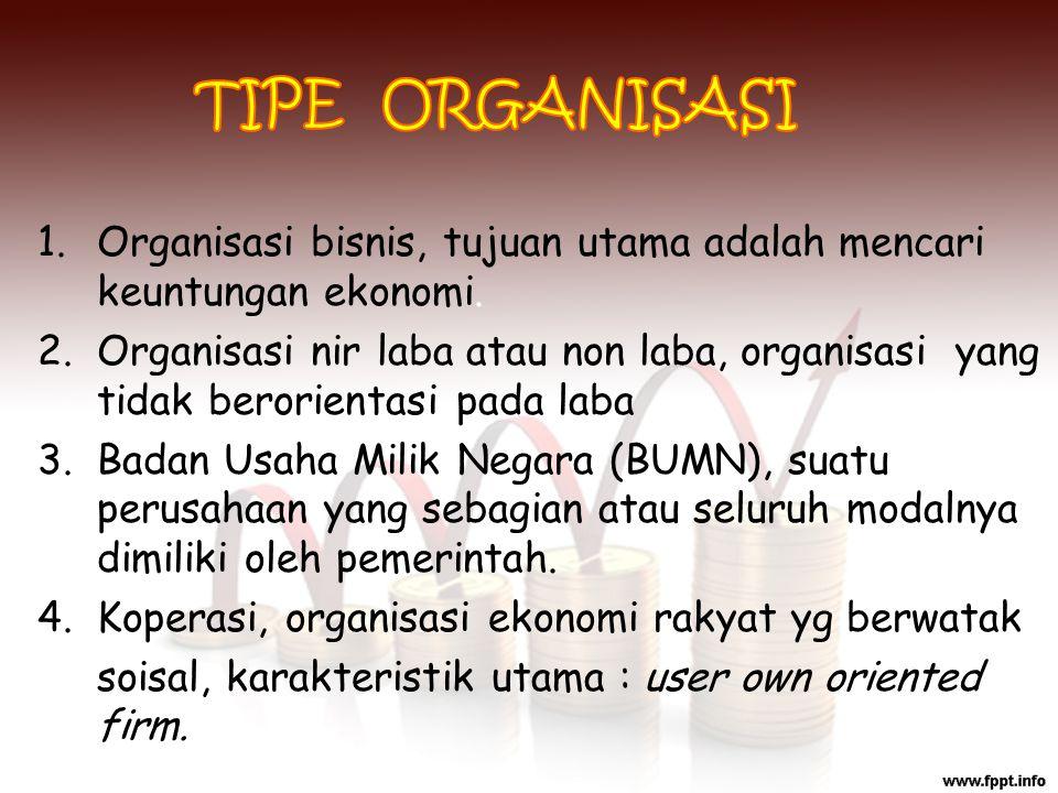 TIPE ORGANISASI Organisasi bisnis, tujuan utama adalah mencari keuntungan ekonomi.