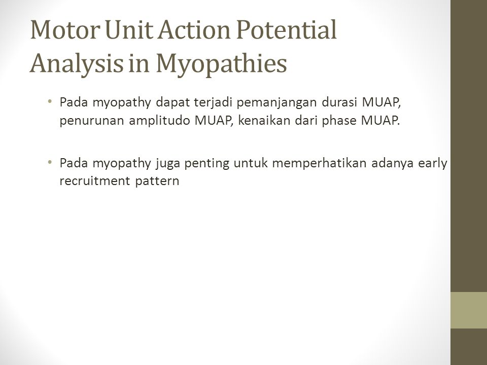 Motor Unit Action Potential Analysis in Myopathies