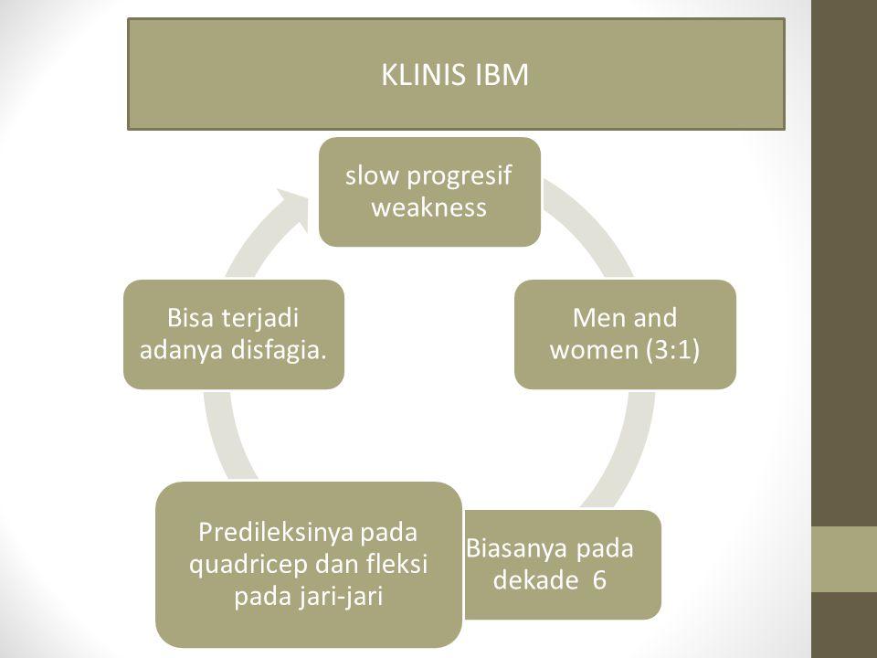 KLINIS IBM Predileksinya pada quadricep dan fleksi pada jari-jari