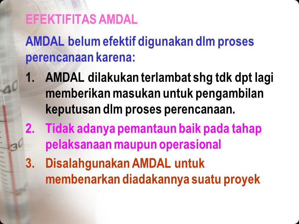 EFEKTIFITAS AMDAL AMDAL belum efektif digunakan dlm proses perencanaan karena: