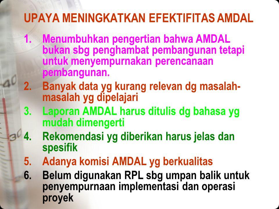 UPAYA MENINGKATKAN EFEKTIFITAS AMDAL