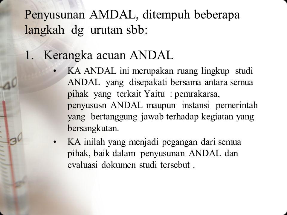 Penyusunan AMDAL, ditempuh beberapa langkah dg urutan sbb: