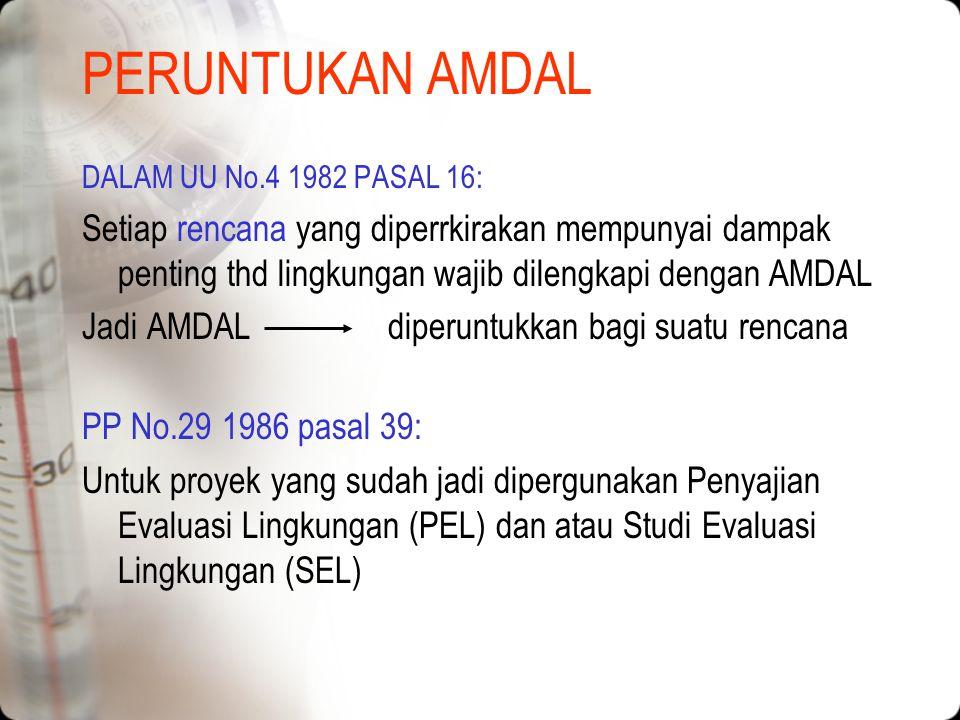 PERUNTUKAN AMDAL DALAM UU No.4 1982 PASAL 16: