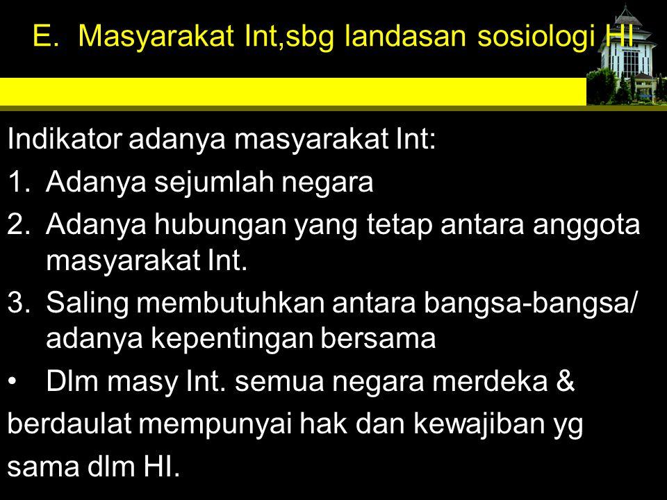 E. Masyarakat Int,sbg landasan sosiologi HI