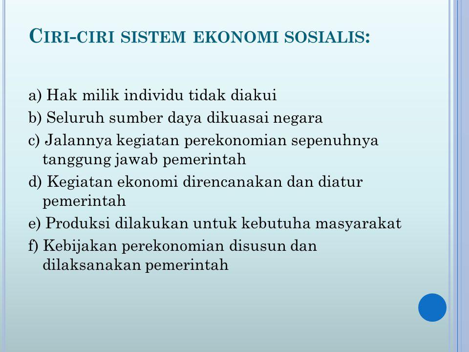 Ciri-ciri sistem ekonomi sosialis: