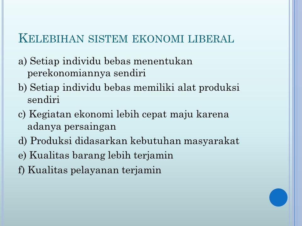 Kelebihan sistem ekonomi liberal