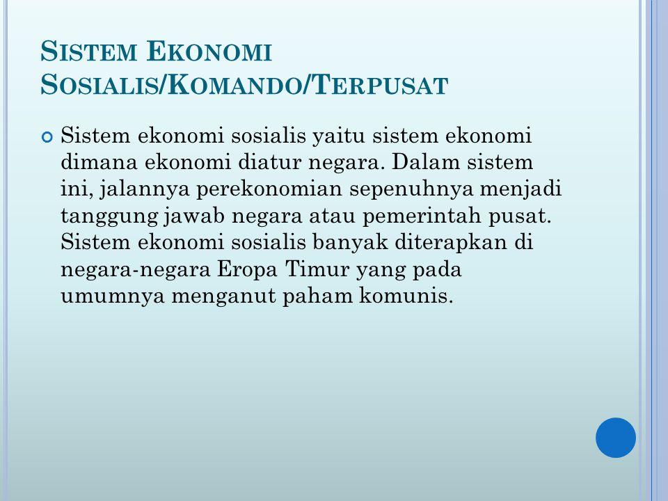 Sistem Ekonomi Sosialis/Komando/Terpusat
