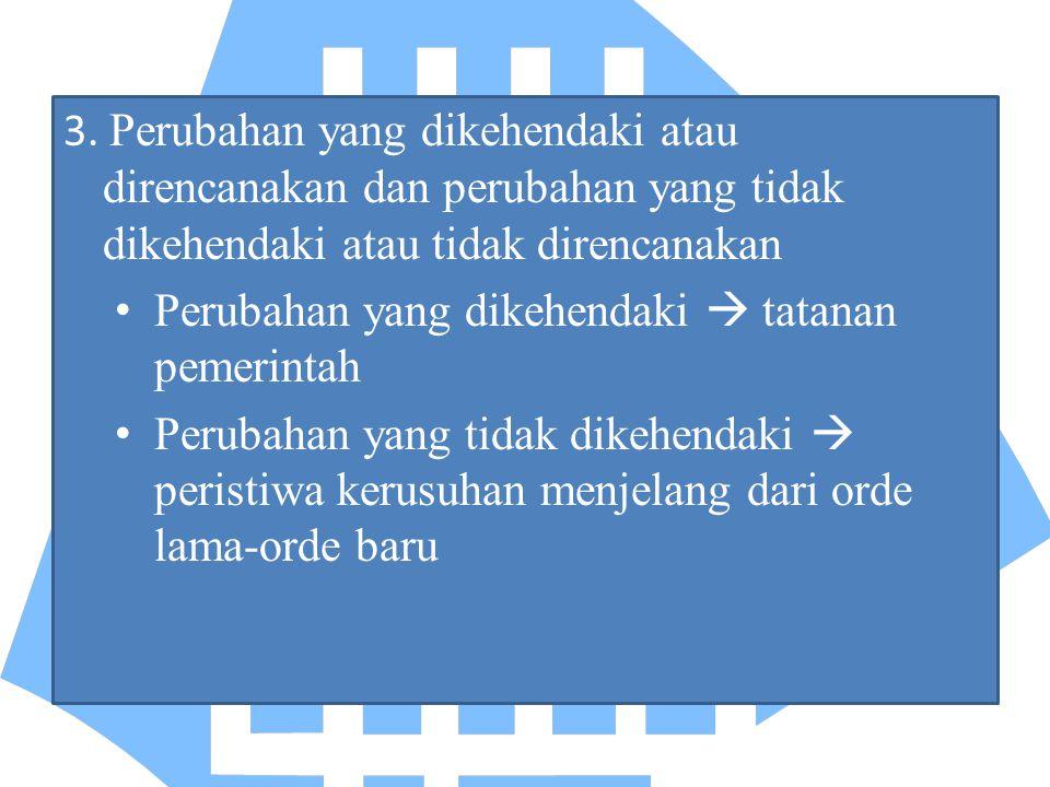 3. Perubahan yang dikehendaki atau direncanakan dan perubahan yang tidak dikehendaki atau tidak direncanakan