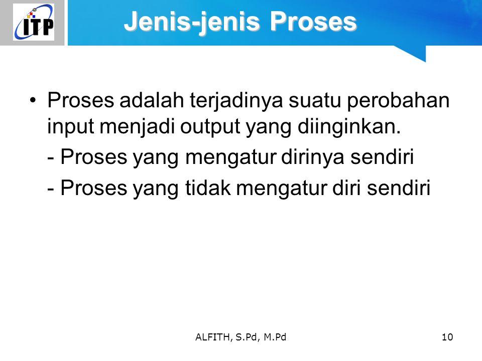 Jenis-jenis Proses Proses adalah terjadinya suatu perobahan input menjadi output yang diinginkan. - Proses yang mengatur dirinya sendiri.