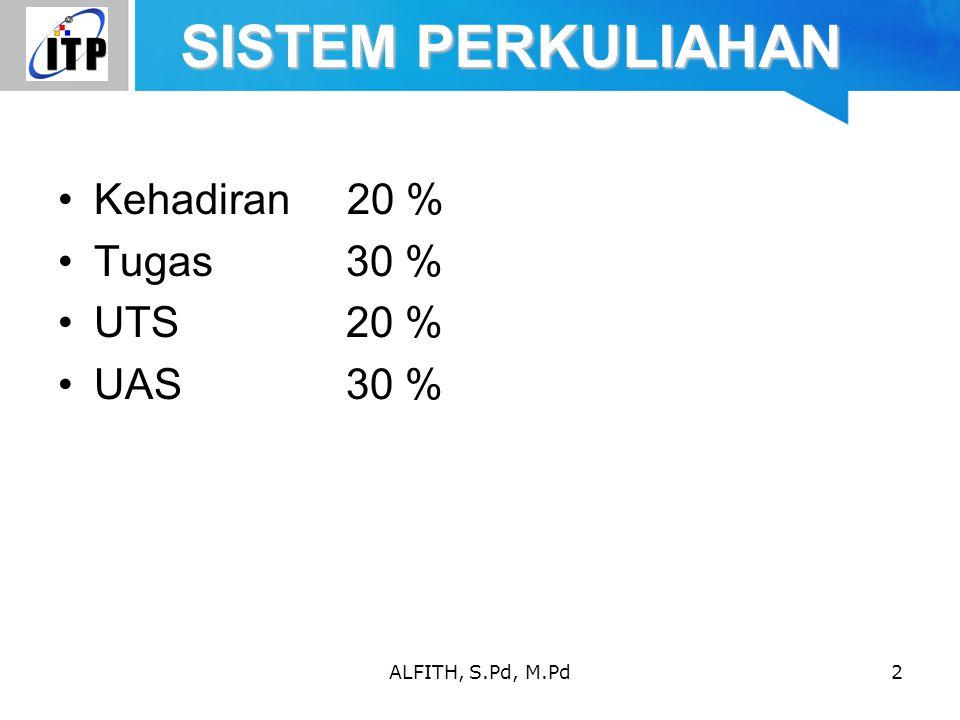 SISTEM PERKULIAHAN Kehadiran 20 % Tugas 30 % UTS 20 % UAS 30 %