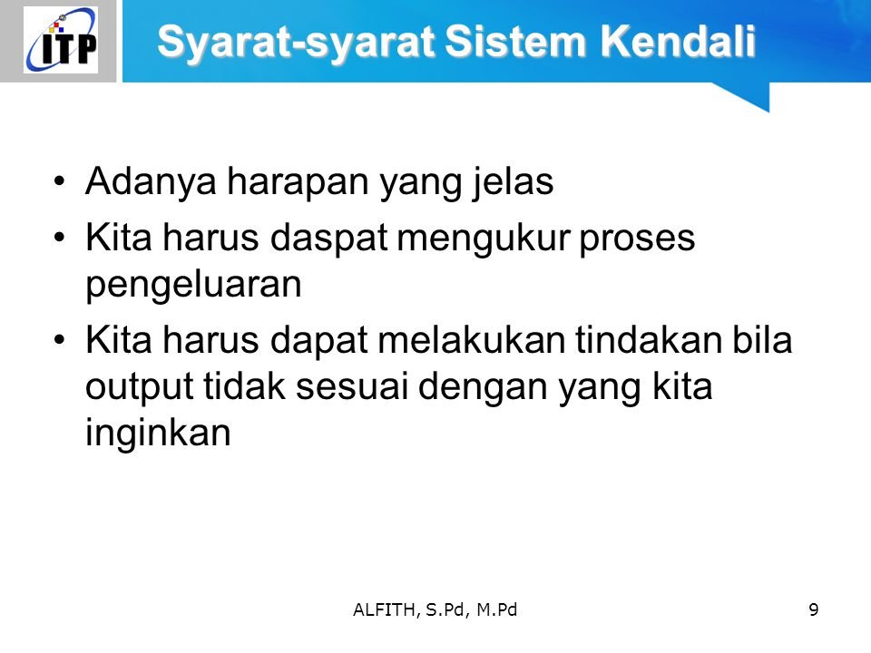 Syarat-syarat Sistem Kendali