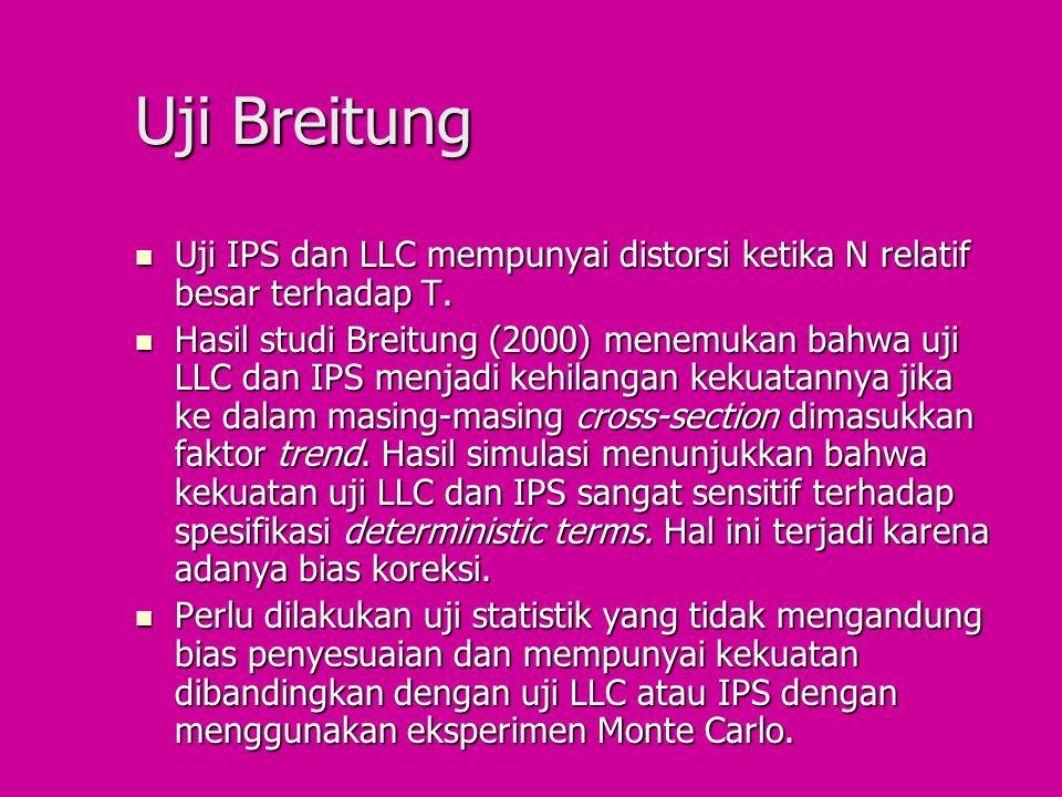 Uji Breitung Uji IPS dan LLC mempunyai distorsi ketika N relatif besar terhadap T.