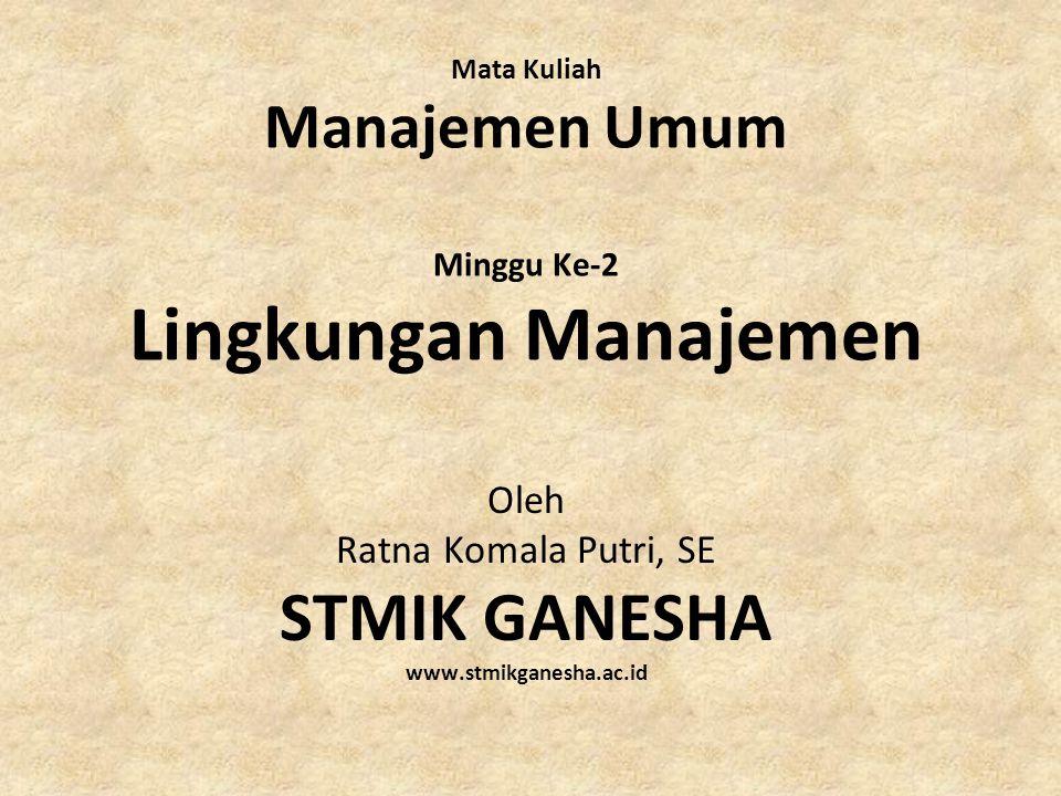 Mata Kuliah Manajemen Umum Minggu Ke-2 Lingkungan Manajemen