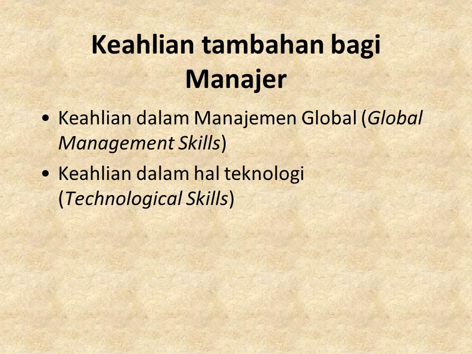 Keahlian tambahan bagi Manajer