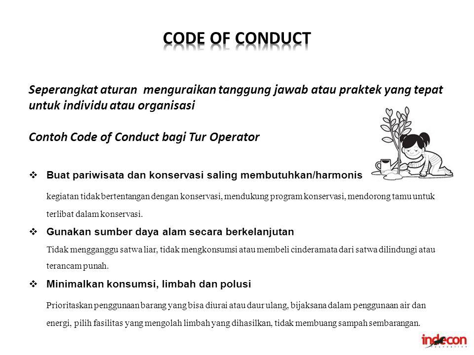 CODE OF CONDUCT Seperangkat aturan menguraikan tanggung jawab atau praktek yang tepat untuk individu atau organisasi.