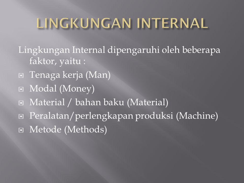 LINGKUNGAN INTERNAL Lingkungan Internal dipengaruhi oleh beberapa faktor, yaitu : Tenaga kerja (Man)